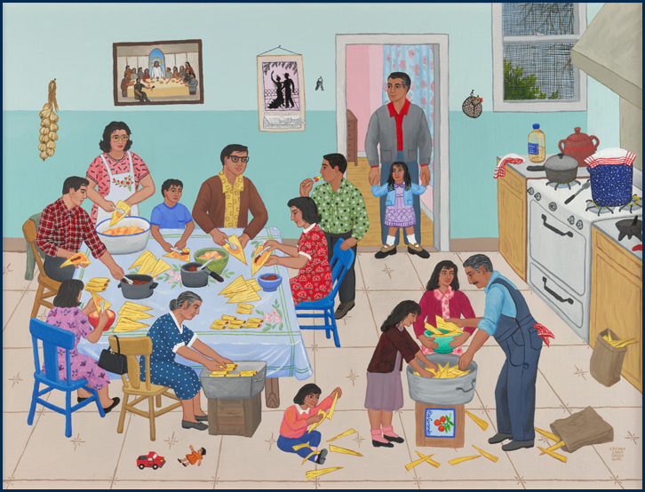 Carmen lomas garza for Mural una familia chicana