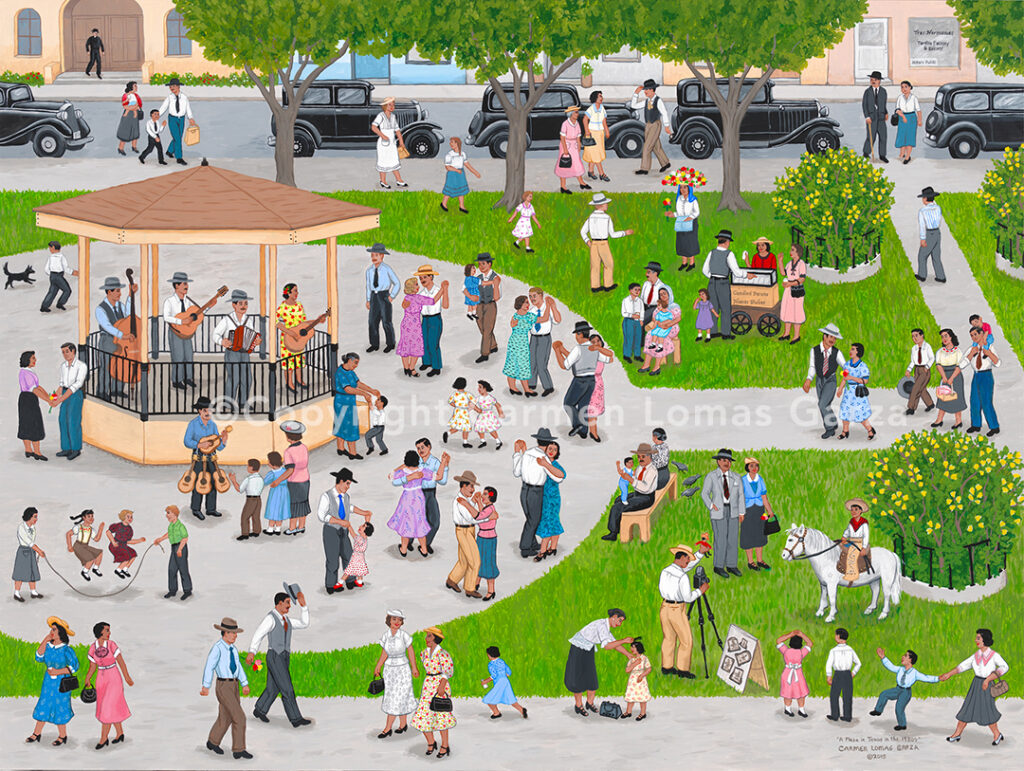 Image of a painting: A Plaza In Texas In The 1930's